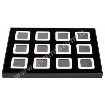 12 Matt silver boxes 4X4x1.5 cm in a tray
