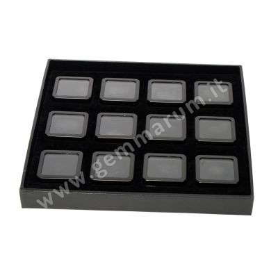 12 Matt Black boxes 4X4x1.5 cm in a tray