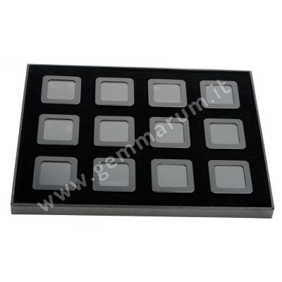 12 Matt Black boxes 5.5X5.5x1.5 cm in a tray