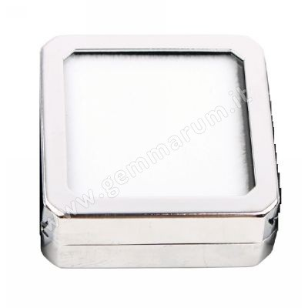 scatolina per pietre preziose in metallo e vetro