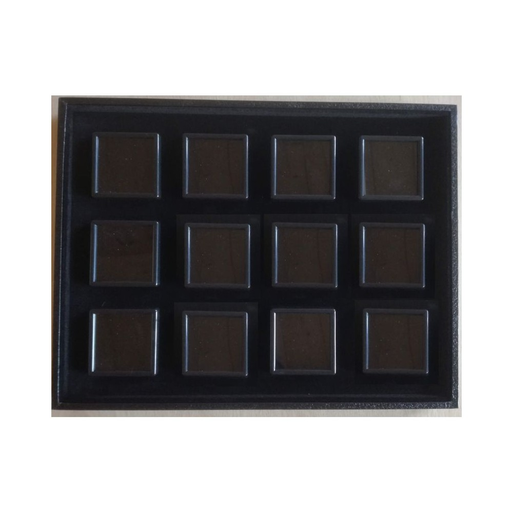 Tray with 12 boxes 5x5 - black