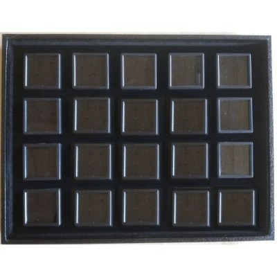 Tray with 20 boxes for gemstones and diamonds - black