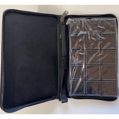Leather case 15x24cm complete with 15 BLACK gemstone boxes